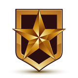 3d heraldic vector template with pentagonal golden star, dimensi Royalty Free Stock Photography