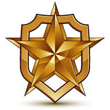 3d heraldic vector template with pentagonal golden star, dimensi Royalty Free Stock Photo