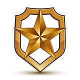 3d heraldic vector template with pentagonal golden star. Three-dimensional royal geometric medallion  on white background Stock Photos