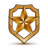 3d heraldic vector template with pentagonal golden star Stock Photos