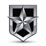 3d heraldic vector template with pentagonal silver star, dimensi Royalty Free Stock Image