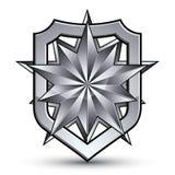 3d heraldic vector template with polygonal silver star, complica Stock Photos