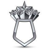 3d heraldyczny szablon z pięć pięciobocznymi srebnymi gwiazdami, c Obraz Royalty Free