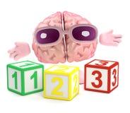 3d Hersenen leren wiskunde Stock Afbeeldingen