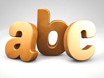 3d het alfabet de brieven van het bronsmetaal abc geven terug Royalty-vrije Stock Fotografie