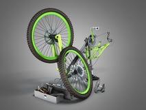 3d het concept van de fietsreparatie geeft op grijs terug Stock Foto