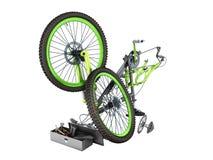 3d het concept van de fietsreparatie geeft op wit geen schaduw terug Stock Foto's