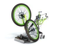 3d het concept van de fietsreparatie geeft op wit terug Stock Foto