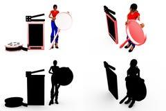 3d het concepteninzamelingen van de vrouwenbioskoop met Alpha And Shadow Channel Stock Fotografie
