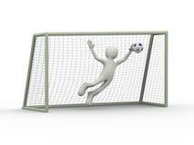 3d het doelbewaarder die van de voetbalvoetbal het duiken maken spaart Royalty-vrije Stock Foto