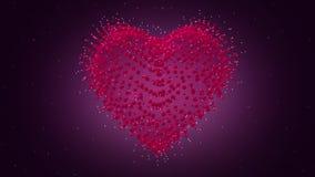 3D het Hart van de valentijnskaartendag Van een lus voorzien video Hart van deeltjes stock video