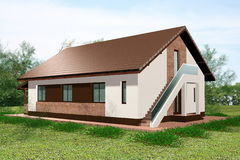 3D het huis geeft grondmening terug Royalty-vrije Stock Afbeeldingen