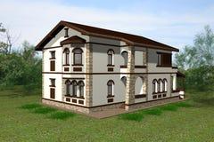 3D het huis geeft terug Royalty-vrije Stock Afbeeldingen