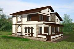 3D het huis geeft terug Stock Afbeeldingen