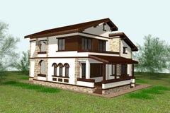 3D het huis geeft terug Royalty-vrije Stock Foto's