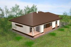 3D het huis geeft terug Stock Fotografie