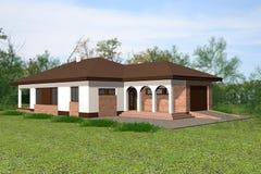 3D het huis geeft terug Royalty-vrije Stock Afbeelding