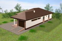 3D het huis geeft terug Stock Afbeelding