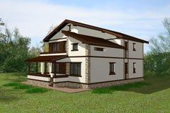 3D het huis geeft terug Stock Foto