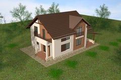 3D het huis geeft terug Royalty-vrije Stock Foto