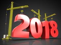 3d het jaarteken van 2018 Stock Afbeeldingen