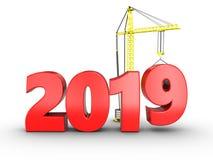 3d het jaarteken van 2019 Royalty-vrije Stock Afbeeldingen