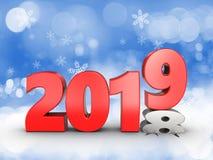 3d het jaarteken van 2019 Royalty-vrije Stock Afbeelding