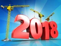 3d het jaarteken van 2018 Stock Foto's