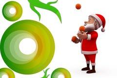 3d het jongleren met van de Kerstman illustratie Stock Fotografie