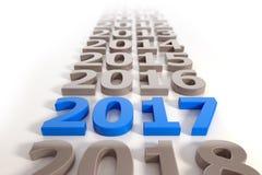 3d - het nieuwe concept van de jaar 2017 chronologie - blauw Royalty-vrije Stock Afbeelding