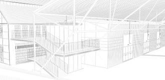 3D het perspectief geeft van binnenlandse wireframe terug Stock Afbeeldingen