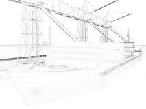 3D het perspectief geeft van binnenlandse wireframe terug Stock Foto