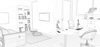 3D het perspectief geeft van binnenlandse wireframe terug Royalty-vrije Stock Afbeeldingen