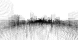 3D het perspectief geeft van de bouw terug wireframe stock illustratie