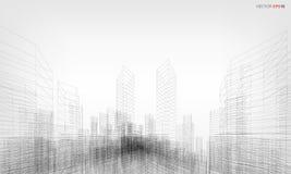 3D het perspectief geeft van de bouw terug wireframe Vector illustratie royalty-vrije illustratie