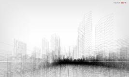 3D het perspectief geeft van de bouw terug wireframe Vector illustratie stock illustratie