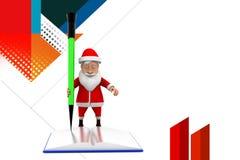 3d het potloodillustratie van het santaboek Stock Foto's