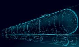 3D het reservoir van de oliespoorweg geeft lage poly terug Diesel van de de financiënindustrie van de brandstofaardolie tank De w stock illustratie