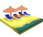 3d het strandscène van de voxelzomer Stock Foto's