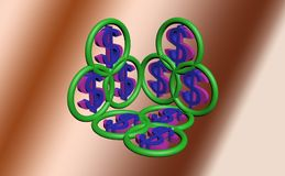 3d het symbool van de dollar Royalty-vrije Stock Foto