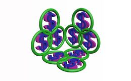 3d het symbool van de dollar Stock Afbeeldingen