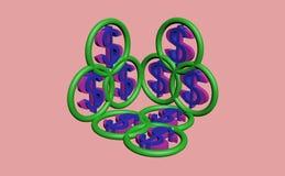 3d het symbool van de dollar Stock Foto's