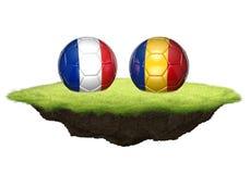 3D het teamballen van Frankrijk en van Roemenië voor de Euro 2016 toernooien van het voetbalkampioenschap Royalty-vrije Stock Foto's