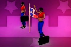 3d het tekenillustratie van het vrouwen volgende niveau Stock Afbeeldingen