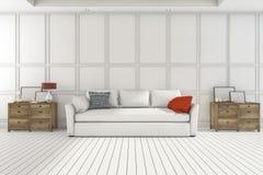 3d het teruggeven aardige houten kast met witte bank in witte woonkamer Royalty-vrije Stock Foto's