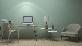 3d het teruggeven aardige uitstekende groene werkende ruimte met klassiek meubilair Stock Fotografie