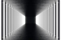 3D het teruggeven abstrac futuristische donkere gang met neonlichten Het gloeien licht Futuristische architectuurachtergrond Royalty-vrije Stock Foto's