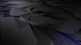 3D het teruggeven abstracte veelhoekige ruimte lage poly met het verbinden van oppervlakte Stock Foto