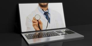 3d het teruggeven arts op het laptop ` s scherm vector illustratie