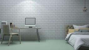 3d het teruggeven bakstenen muurslaapkamer met uitstekende decoratiestijl Royalty-vrije Stock Fotografie